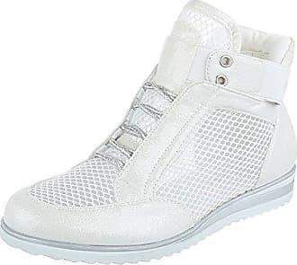 Ital-Design High-Top Sneaker Damen-Schuhe High-Top Sneakers Schnürsenkel Freizeitschuhe Silber Weiß, Gr 40, A6031-