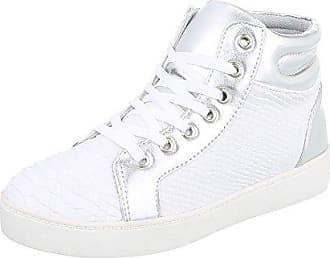 Ital-Design High-Top Sneaker Damen-Schuhe High-Top Sneakers Schnürsenkel Freizeitschuhe Silber Weiß, Gr 36, A6031-
