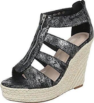 Keilsandaletten Damen-Schuhe Plateau Keilabsatz Wedge Peep-Toe  Reißverschluss Sandalen Sandaletten Schwarz b93ef71b30
