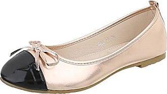 Ital-Design Klassische Ballerinas Damen-Schuhe Blockabsatz Perforierte Beige, Gr 40, 127-25-