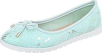 Ital-Design Klassische Ballerinas Damen-Schuhe Moderne Blau Grau, Gr 36, Zy1715-