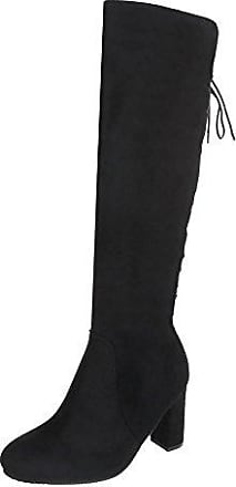 Ital-Design Schnürstiefel Damen-Schuhe Klassischer Stiefel Pump Schnürer Reißverschluss Stiefel Schwarz, Gr 37, Fc-H107-