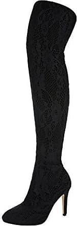 Ital-Design Overknee Stiefel Damen-Schuhe Klassischer Stiefel Pfennig-/Stilettoabsatz High Heels Reißverschluss Stiefel Schwarz, Gr 36, Ak-11-