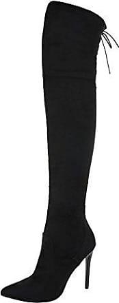 Ital-Design Overknees Damen-Schuhe Overknees Pfennig-/Stilettoabsatz High Heels Reißverschluss Stiefel Schwarz, Gr 36, Ak-12-