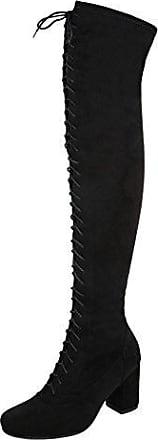 Ital-Design Overknee Stiefel Damen-Schuhe Klassischer Stiefel Pump Leicht Gefütterte Reißverschluss Stiefel Braun Grau, Gr 37, H711-