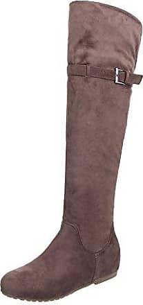 Ital-Design Overknees Damen-Schuhe Klassischer Stiefel Keilabsatz/Wedge Keilabsatz Reißverschluss Stiefel Grau, Gr 41, 0-68-