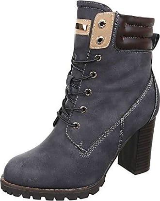 Ital-Design Schnürstiefeletten Damen-Schuhe Schnürstiefeletten Pump Schnürer Reißverschluss Stiefeletten Grau, Gr 37, Ns05-