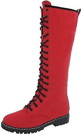 Ital-Design Schnürstiefel Damen-Schuhe Klassischer Stiefel Pump Schnürer Reißverschluss Stiefel Hellbraun, Gr 38, Fc-H107-