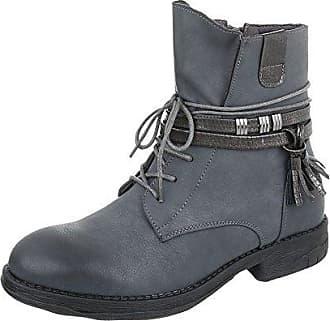 Ital-Design Schnürstiefeletten Damen-Schuhe Schnürstiefeletten Pump Schnürer Reißverschluss Stiefeletten Schwarz, Gr 39, Ns05-