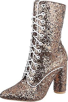 Ital-Design Schnürstiefeletten Damen-Schuhe Schnürstiefeletten Pump High Heels Schnürsenkel Stiefeletten Gold, Gr 41, Jr-002-