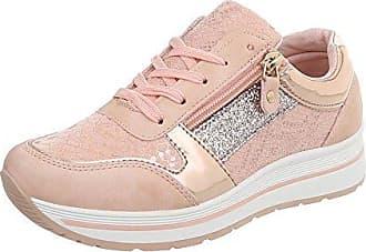 Ital-Design Sneakers Low Damen-Schuhe Schnürsenkel Freizeitschuhe Altrosa, Gr 36, A-258-