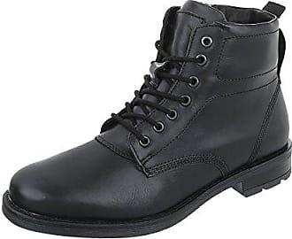 Stiefeletten Herren Schuhe Desert Boots Moderne Schnürsenkel Ital-Design Boots Schwarz, Gr 40, 62006-