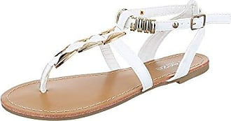Ital-Design Zehentrenner Damen-Schuhe Peep-Toe Blockabsatz Zehentrenner Schnalle Sandalen/Sandaletten Weiß, Gr 38, 31-B41543B-