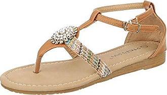 Ital-Design Zehentrenner Damen Schuhe Peep-Toe Blockabsatz Zehentrenner Sandalen/Sandaletten Rot, Gr 37, Fc16-A15-