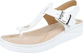 Ital-Design Zehentrenner Damen-Schuhe Peep-Toe Zehentrenner Schnalle Sandalen/Sandaletten Weiß, Gr 37, 17-M61077B-