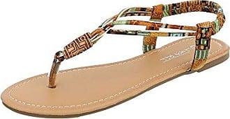 Ital-Design Zehentrenner Damen-Schuhe Zehentrenner Blockabsatz Zehentrenner Sandalen & Sandaletten Rot Gold, Gr 40, Pm907-12-