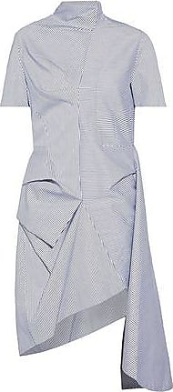 J.w.anderson Woman Asymmetric Draped Striped Cotton-blend Dress Light Blue Size 8 J.W.Anderson