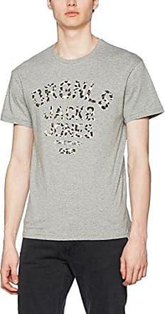 12092913 - T-Shirt - Imprimé - Manches Courtes - Homme - Gris (Grey Mélange/Mélange Reg) - Large (Taille Fabricant: L)Jack & Jones