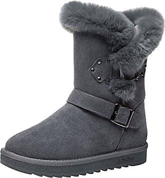 SHOWHOW Damen Dicke Sohle Gefüttert Rund Zehe Schneestiefel Bow Boots Grau 33 EU