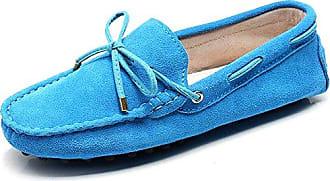 Jamron Damen Klassisch Wildleder Penny-Müßiggänger Komfort Handgefertigt Hausschuhe Mokassins Himmelblau 24208 EU43