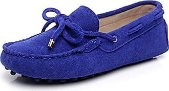 Jamron Damen Klassisch Wildleder Penny-Müßiggänger Komfort Handgefertigt Hausschuhe Mokassins Himmelblau 24208 EU41