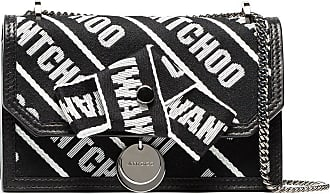 black and white Finley logo cotton and leather clutch Jimmy Choo London