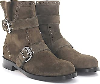 Ankle boots suede Decorative buckle Metal decorations brown grey Jimmy Choo London