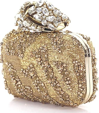Clutch CLOUD embroidered fabric woven gold crystal ornaments crystal lock Jimmy Choo London