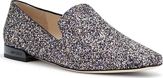 Jaida Glittered Leather Loafers - Silver Jimmy Choo London