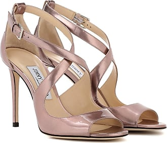 Jimmy Choo Selina 100 Optik Cage Sandalen aus Platinum Ice Dusty Glitzer