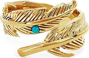 Johnny Was Feather Ring With Turquoise Bezel