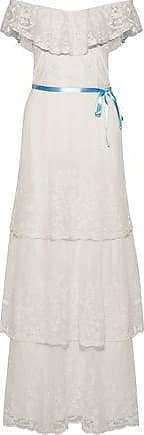 Joie Woman Gertie Off-the-shoulder Embroidered Cotton-blend Mesh Maxi Dress Ivory Size 8 Joie