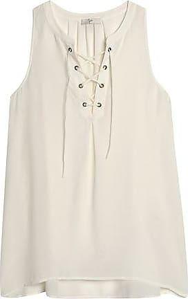 Joie Woman Belleville Corded Lace-trimmed Silk Top Ivory Size L Joie
