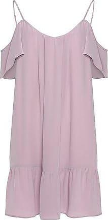 Joie Woman Stellara Cold-shoulder Ruffled Washed-silk Mini Dress Blush Size L Joie