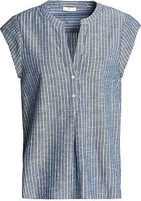 Joie Woman Striped Cotton-chambray Top Storm Blue Size XXS Joie