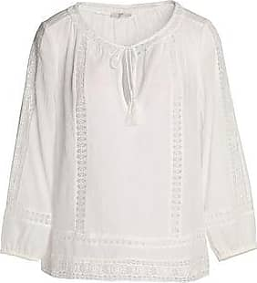 Joie Woman Crochet-trimmed Pintucked Cotton-gauze Top White Size L Joie