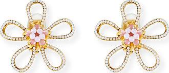 Jose & Maria Barrera Open Flower Clip-On Earrings with Pink Opal