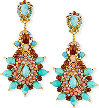 Jose & Maria Barrera Starburst Cabochon Teardrop Clip-On Earrings