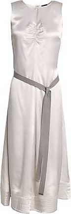 Joseph Woman Metallic Satin-crepe Dress Light Gray Size 42 Joseph