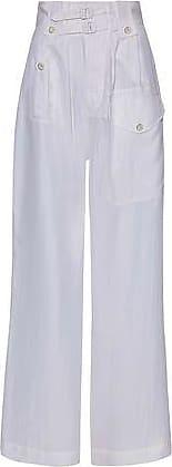 Joseph Woman Buckled Washed-silk Wide-leg Pants White Size 34 Joseph