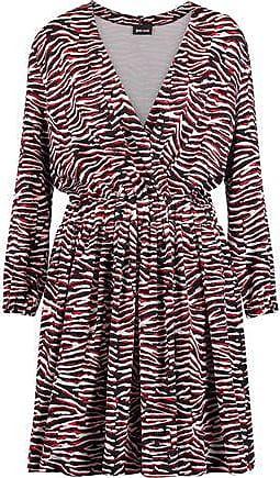 Just Cavalli Woman Wrap-effect Printed Satin-jersey Mini Dress Red Size 44 Just Cavalli