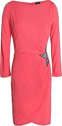 Just Cavalli Woman Wrap-effect Asymmetric Embellished Crepe Mini Dress Black Size 48 Just Cavalli