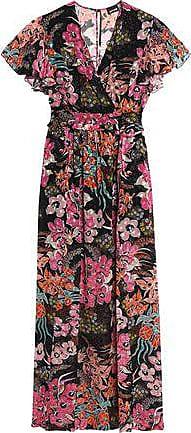 Just Cavalli Woman Wrap-effect Floral-print Fil-coupé Maxi Dress Black Size 38 Just Cavalli