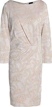 Just Cavalli Woman Wrap-effect Metallic Jacquard Mini Dress Beige Size 46 Just Cavalli
