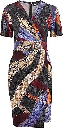 Just Cavalli Woman Pleated Zebra-print Stretch-jersey Mini Dress Papaya Size 42 Just Cavalli