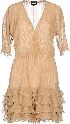Just Cavalli Woman Wrap-effect Metallic Jacquard Mini Dress Beige Size 46 Just Cavalli