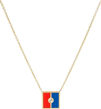 K Kane Code Flag Square Diamond Pendant Necklace - K