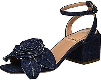 5728, Sandales Bout Ouvert Femme - Noir - Schwarz (Nero+Roccia), 40Kalliste