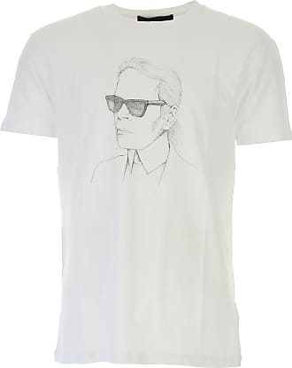 Camiseta de Hombre Baratos en Rebajas, Blanco, Algodon, 2017, L XL Karl Lagerfeld