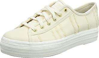 Keds TPL Kick Metallic Linen Silver, Zapatillas para Mujer, Blanco (White 10), 40.5 EU